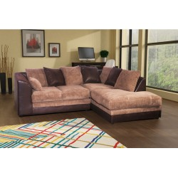 Stunning brown and beige cord corner sofa. left or right corner