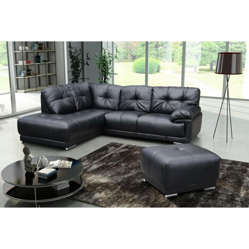 Amazing Lex Black Leather Large Corner Sofa LOCALFURNITURESTORE