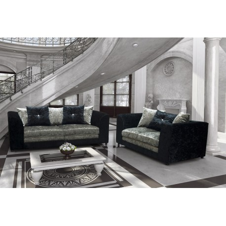 Brand New Bella Crushed Velvet 3 and 2 seater sofas. Black and Silver
