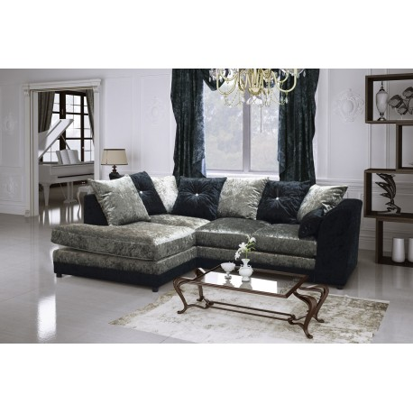 Brand New Bella Crushed Velvet fabric Corner Sofa in Black / Silver.Corner to any side