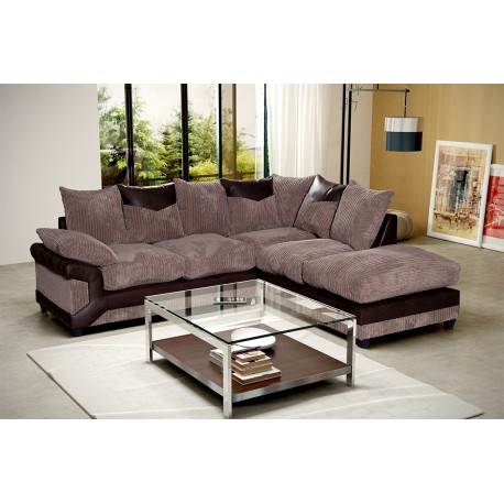 Brand New Dino Brown and Mocha Corner Sofa With Large Foot Stool -