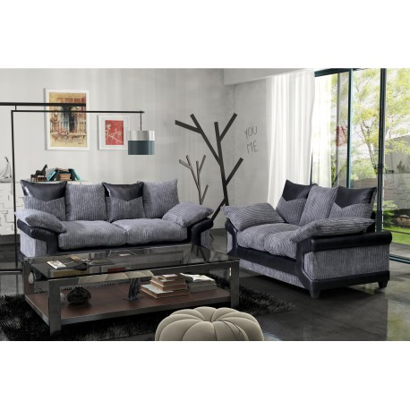 Brand New Dino Black and Grey Cord  3+2 sofas.