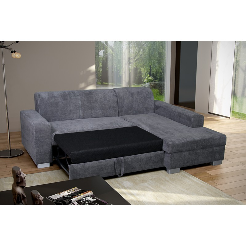 miami grey fabric corner sofa bed with storage corner to