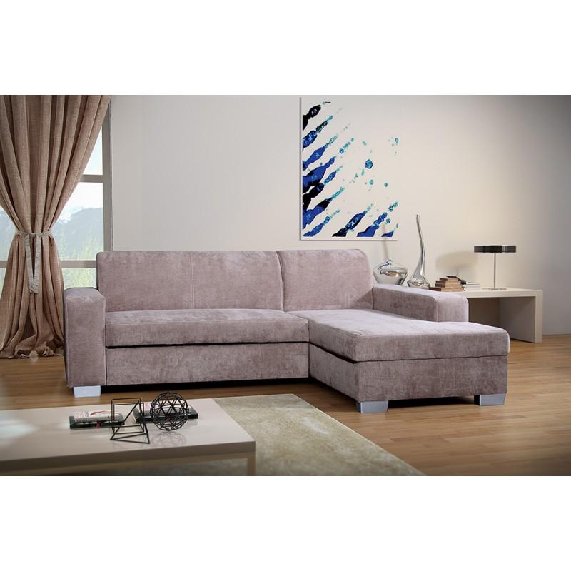miami beige fabric corner sofa bed with storage corner to