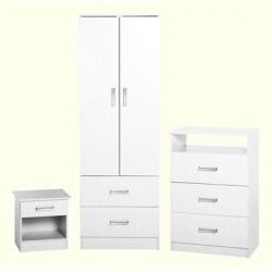 Amazing 3 piece wardrobe set in white finish