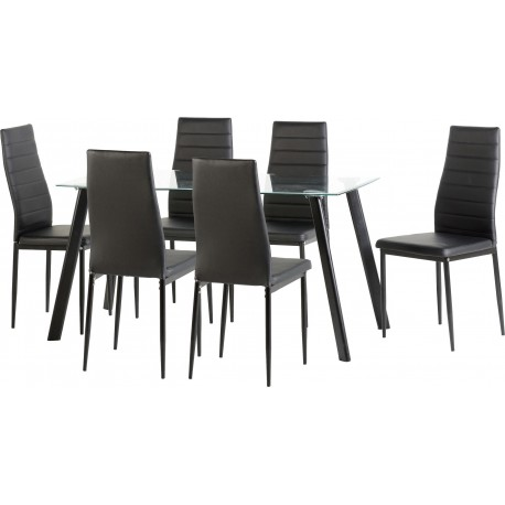 """Amazing 55"""" Dining Set in Clear Glass/Black/Black Faux Leather"""