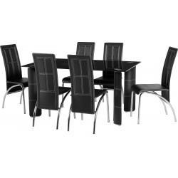 Lovely Dining Set in Clear Glass/Black Faux Leather/Chrome