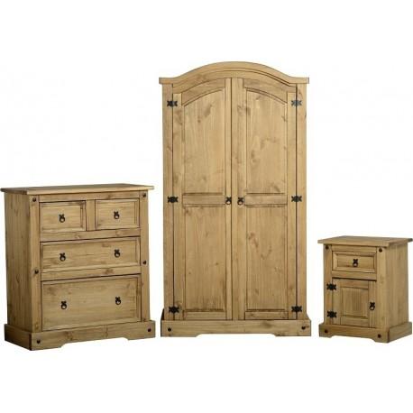Superb Corona Trio Bedroom Wardrobe set in distressed waxed pine