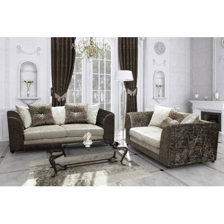 Brand New Bella Crushed Velvet 3 and 2 seaters, Brown/Mink