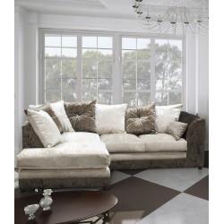 Brand New Bella Crushed Velvet fabric Corner Sofa in Brown/ Mink.Corner to any side