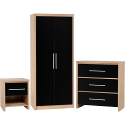 Superb 3 piece wardrobe set in black high gloss